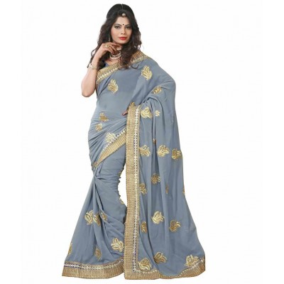 Faux Georgette Embroidered SAREE with Blouse Piece