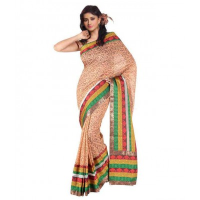 Orange Border Work Chanderi Saree