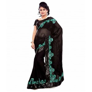 Black Net Embroidered Designer Saree With Blouse Piece