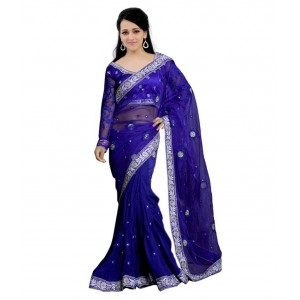 Blue Faux Georgette Embroidered Saree