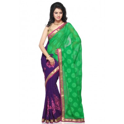 Green Faux Georgette Brasso and Faux Chiffon Saree with Blouse