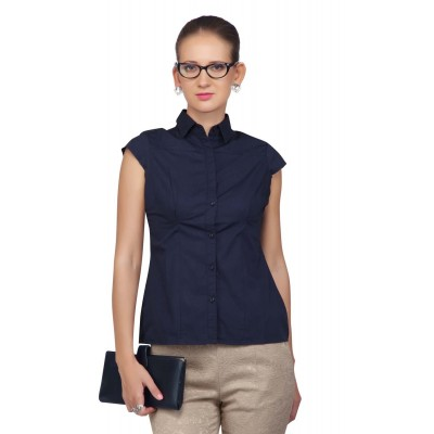 Women Cotton Casual Shirt (Blue)