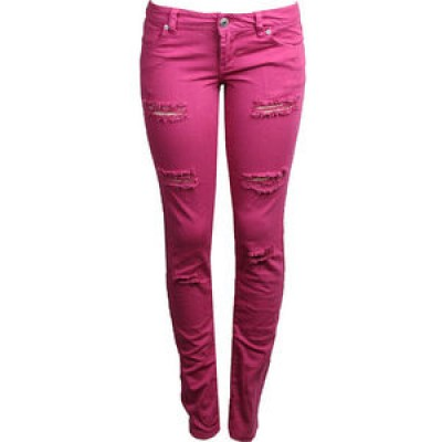 Acid Wash Double-Button Knit Jeggings