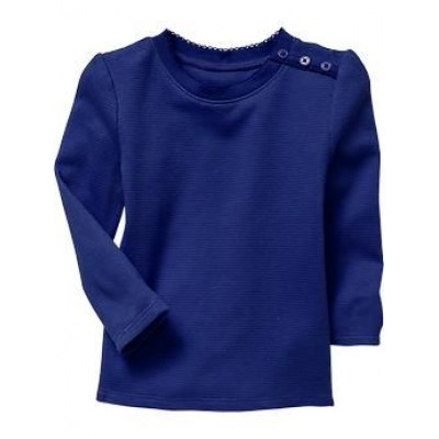 Girls black plain cotton woven blue t-shirt