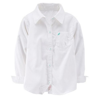 White Solid Button-Front Shirt